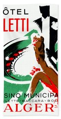 1935 Hotel Aletti Casino Algeria Bath Towel by Historic Image