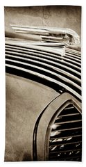 Bath Towel featuring the photograph 1936 Pontiac Hood Ornament -1140s by Jill Reger