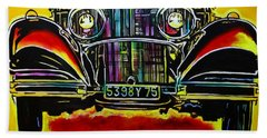 Hand Towel featuring the painting 1937 Mercedes Benz First Wheel Down by Eric Dee