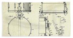 1939 Slingerland Snare Drum Patent Sheets Hand Towel
