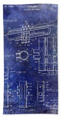1939 Trumpet Patent Blue Hand Towel by Jon Neidert