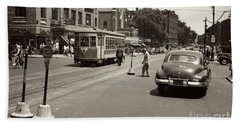 Hand Towel featuring the photograph 1940's Inwood Trolley by Cole Thompson