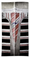 Hand Towel featuring the photograph 1941 Chevrolet Grille Emblem -0288ac by Jill Reger