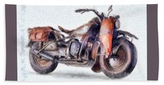 1942 Harley Davidson, Military, 750cc Hand Towel by Caito Junqueira