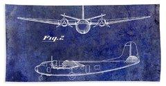 1946 Airplane Patent Blue Bath Towel