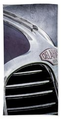 Hand Towel featuring the photograph 1947 Delahaye Emblem -1477ac by Jill Reger