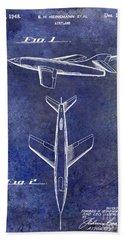 1947 Jet Airplane Patent Blue Bath Towel