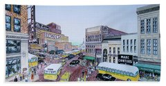 Rush Hour Portsmouth Ohio 1948 Hand Towel