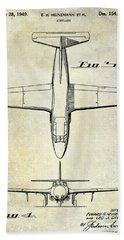1949 Airplane Patent Drawing Bath Towel