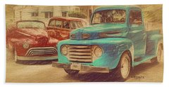 1950 Ford Truck Classic Cars - Homecoming Bath Towel by Rebecca Korpita