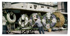 Hand Towel featuring the photograph 1950s Mexico City Funeral Wreaths by Marilyn Hunt