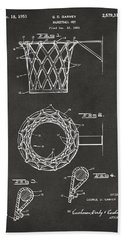 Bath Towel featuring the digital art 1951 Basketball Net Patent Artwork - Gray by Nikki Marie Smith