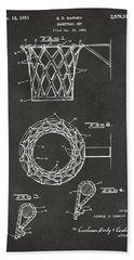 1951 Basketball Net Patent Artwork - Gray Bath Towel