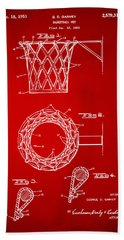 Bath Towel featuring the digital art 1951 Basketball Net Patent Artwork - Red by Nikki Marie Smith