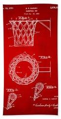 1951 Basketball Net Patent Artwork - Red Bath Towel