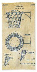 Bath Towel featuring the digital art 1951 Basketball Net Patent Artwork - Vintage by Nikki Marie Smith