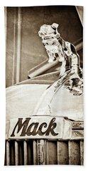 1952 L Model Mack Pumper Fire Truck Hood Ornament -0179s Bath Towel
