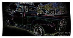 Bath Towel featuring the photograph 1952 Neon Chevrolet Pickup by Geraldine DeBoer