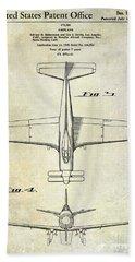 1955  Airplane Patent Drawing 2 Bath Towel