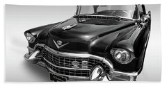 Bath Towel featuring the photograph 1955 Cadillac Black And White by Gill Billington