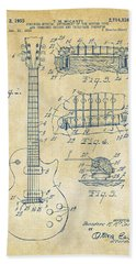 Bath Towel featuring the drawing 1955 Mccarty Gibson Les Paul Guitar Patent Artwork Vintage by Nikki Marie Smith