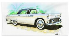 1955 Thunderbird Painting Bath Towel