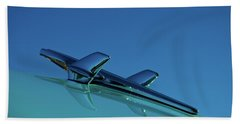 Bath Towel featuring the photograph 1956 Chevy Belair Hood Ornament by Jani Freimann