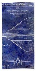 1956 Jet Airplane Patent Blue Bath Towel