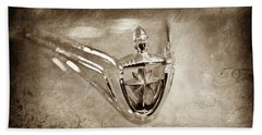 Hand Towel featuring the photograph 1956 Lincoln Premier Convertible Hood Ornament -0832s by Jill Reger