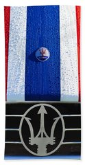 Bath Towel featuring the photograph 1956 Maserati 350 S Hood Ornament Emblem 3 by Jill Reger
