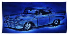 1957 Chevy Bel Air - Moonlight Cruisin  Hand Towel