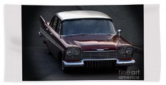 Bath Towel featuring the photograph 1957 Plymouth Belvedere by Baggieoldboy