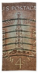 1959 First Oil Well Stamp Bath Towel