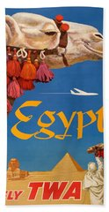 1960 Egypt Twa David Klein Travel Poster  Hand Towel