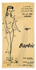 1961 Barbie Doll Patent Art 5 Hand Towel