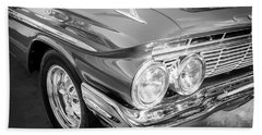 Bath Towel featuring the photograph 1961 Chevrolet Impala Ss Bw by Rich Franco