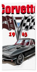 Hand Towel featuring the mixed media 1963 Corvette With Split Rear Window by Thomas J Herring
