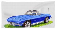 Bath Towel featuring the painting 1964 Corvette Stingray by Jack Pumphrey