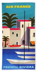 1965 Air France French Riviera Travel Poster Hand Towel