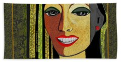 Hand Towel featuring the digital art 1966 - Lady With Beautiful Teeth by Irmgard Schoendorf Welch