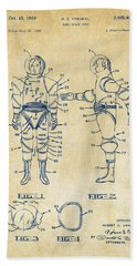 1968 Hard Space Suit Patent Artwork - Vintage Hand Towel by Nikki Marie Smith