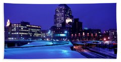 Hand Towel featuring the photograph  1969 Boston Twilight by Historic Image