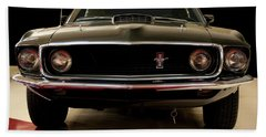 Hand Towel featuring the digital art 1969 Ford Mustang by Chris Flees