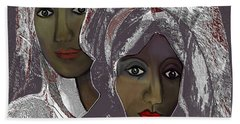 Hand Towel featuring the digital art 1969 -  White Veils by Irmgard Schoendorf Welch