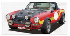 1972 Fiat Abarth 124 Rally Illustration Hand Towel by Alain Jamar