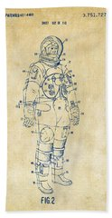 1973 Astronaut Space Suit Patent Artwork - Vintage Hand Towel by Nikki Marie Smith