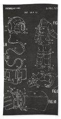 1973 Space Suit Elements Patent Artwork - Gray Hand Towel