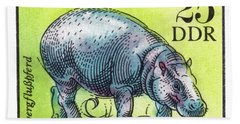 1975 East Germany Zoo Hippopotamus Postage Stamp Hand Towel