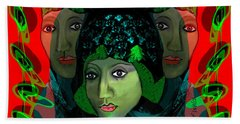 Bath Towel featuring the digital art 1975 - Mystery Woman by Irmgard Schoendorf Welch