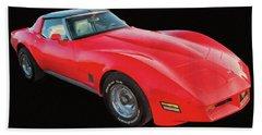 1977 Chevy Corvette T Tops Digital Oil Hand Towel